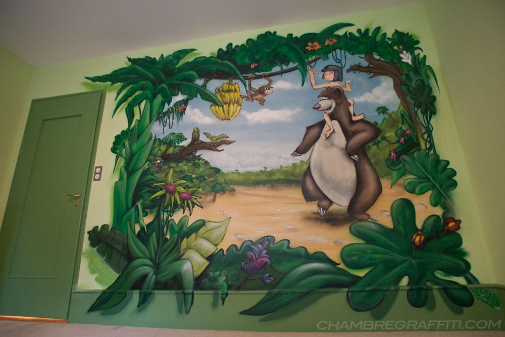 chambre graffiti à Genève : livre jungle Trompe-l'oeil